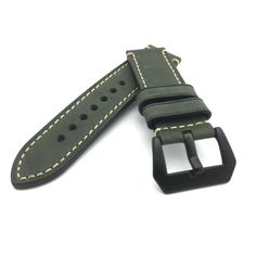 Dark Green Crazy Horse Leather Watch Strap Panerai Style (Black PVD, 22mm, 24mm) #Unbranded