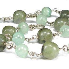 Labradorite Necklace, Fluorite, Sterling Silver Beaded Station Chain | bohowirewrapped - Jewelry on ArtFire