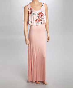 This Mon Ami Peach Floral Lampshade Maxi Dress by Mon Ami is perfect! #zulilyfinds
