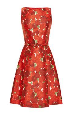 Rose-Print Silk-Blend Mikado Dress by Oscar de la Renta - Moda Operandi
