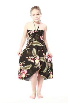 Girl Hawaiian Luau Butterfly Dress in Black Rafelsia
