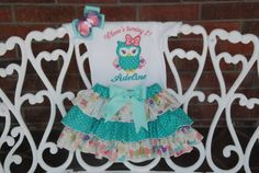 Baby Girl Owl First Birthday Outfit Baby Girl by RuffleDarlings