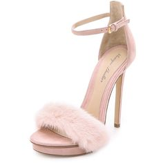 Monique Lhuillier Marlowe Fur Sandals ($895) ❤ liked on Polyvore featuring shoes, sandals, blush, vintage footwear, vintage shoes, monique lhuillier, fur shoes and platform sandals