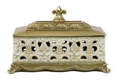 D'Lusso Designs Kayla Collection Large Jewelry Box. This stunning D'Lusso Designs Large Jewelry Trinket Box makes the perfect gift to impress.  Made of intricately designed and colored polyresin, it is surely a gift or centerpiece that will be treasured.  Measures:  14 Inch Length x 7.5 Inch Width x 8 Inch High