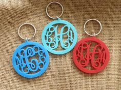 Custom Monogram Acrylic Keychain 3 Letters, about 2 or 2.5 Made in your choice of color listed below. Great as a Gift or add to your own key