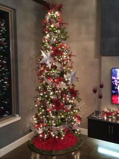 my creative friend decorated this beautiful christmas tree it is beautiful - Skinny Christmas Tree Decorating Ideas