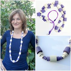 Original jewelry-Colorful statement necklace with chunky beads of corrugated paper lilac and ivory-bold adjustable necklace-abstract jewelry http://etsy.me/1Edoe1k