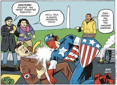 "fucking-deactivated: "" cartoonpolitics: "" (cartoon by Matt Bors) "" Okay but to be fair I barely ever see black people defending Nazis. """