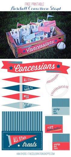 Free Printable Baseball Party Supplies - These are the perfect way to dress up treats for a baseball birthday party, or to celebrate at the end of the season!    Kim Byers