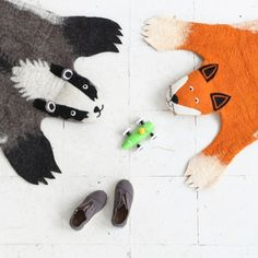 Funky and fun felt animal rugs - check out the whole gang online, Wolf, Budgie, Badger & Fox #This Modern Life #AnimalRug #Felt #ThisModernLife