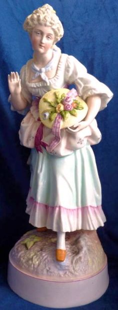 Large German porcelain figurine pair, lady with flowers in hat,1 of 2,  Victorian  S