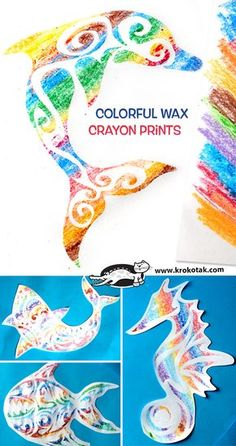 Colorful Wax Crayon Prints... pictorial instructions