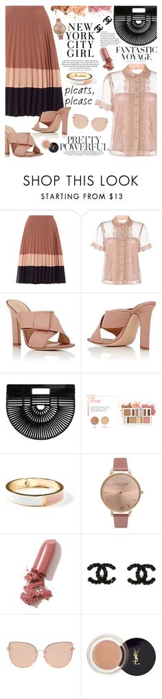 """Give Me Pleats, Please!"" by martinabb ❤ liked on Polyvore featuring Miss Selfridge, RED Valentino, Gianvito Rossi, Cult Gaia, BHCosmetics, H&M, Old Navy, Olivia Burton, LAQA & Co. and Topshop"