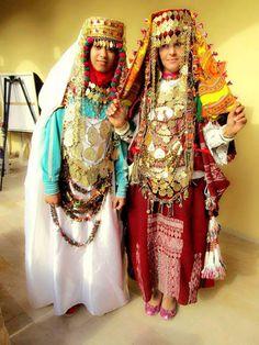 Tunisian women in festive clothing. Traditional jewelry of Tunisia