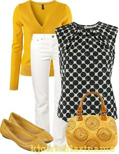 Yellow, black and white! Would you wear it? // Combinacion de ropa, amarillo, negro y blanco. Visit the post for more. Mode Outfits, Fashion Outfits, Womens Fashion, Fashion Tips, Business Casual Outfits, Stylish Outfits, Mode Jeans, Work Casual, Work Fashion