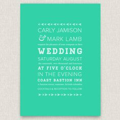 Darted - modern wedding invitation with typographic arrow design. $4.00, via Etsy.