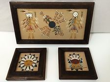 3 FRAMED NATIVE AMERICAN  NAVAJO  SAND PAINTING SIGNED CURTIS  BEJAY