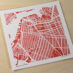 Park Slope Brooklyn Hand-Drawn Map Print. From the New York States of Mind Marketplace. Handmade in Fayetteville, NY by Salty Lyon.