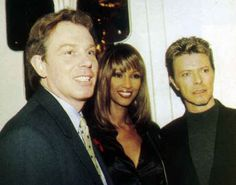 British Prime-Minister, Tony Blair, with Iman and husband, David Bowie.
