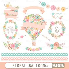 Flor globo clipart: encaje de Floral globo gráfico