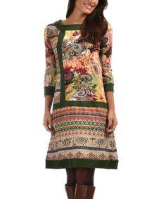 Look what I found on #zulily! Green & Pink Geometric Contrast-Trim A-Line Dress #zulilyfinds