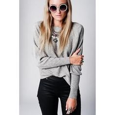 Gray Sweater with Textured Knit with Boat Neck