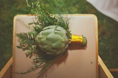 Bride had a artichoke and herb bouquet which she enjoyed post wedding- awesome!