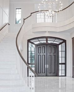 55 Luxurious Grand Staircase Design Ideas That are Just Spectacular Most people dream of having a luxurious house that can show their personal status of having the ability to bui Luxury Staircase, Foyer Staircase, Double Staircase, Staircase Design, Entryway Stairs, Winding Staircase, Open Stairs, Staircase Makeover, Traditional Staircase