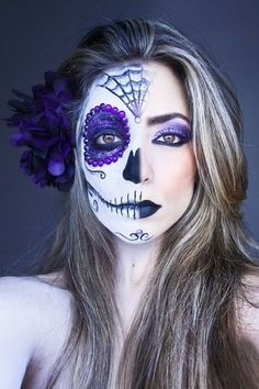 Purple Glam - Celebrate Day of the Dead With These Sugar Skull Makeup Ideas - Photos