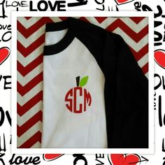 A Teacher Monogrammed Raglan Tee!  Choose from several colors.  This is a great gift for a teacher.