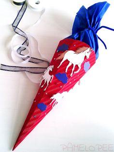 pamelopee: Schultüte Pferde - Eine einfache Zuckertüte selber basteln (Tipps und Tricks)