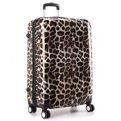 KONO Hardshell Luggage Light weight Travel Trolley Suitcase Large 24'' Leopard