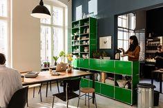 USM Haller shelving for your #cafeteria in green.  #furniture #furnituredesign #interior #interiordesign #homefurniture #shelf #shelves #storage