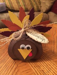 Thanksgiving turkey created by Janice Urke Stampin Up demonstrator using feathers and curvy box dies