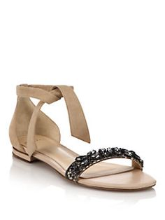 Alexandre Birman - Clarita Jeweled Suede & Python Flat Sandals