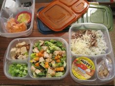 "My hubby's GLUTEN FREE lunch a/lunch b/snacks for a day at work--and yes, he needs to eat a that often! I pack all three ""bentos"" in the cooler, set in the fridge, and he just takes grabs-n-goes in the AM with all his food. :) EASY LUNCHBOXES works well for his needs. She uses prepacked salsa and applesauce in these too. Good idea."