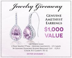 Enter to win a pair of Genuine Amethyst & Diamond  Drop Earrings! @Holsted_Jeweler #jewelry #giveaway #holstedjewelers