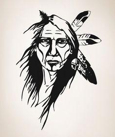 Vinyl Wall Decal Sticker Native American Elder by Stickerbrand