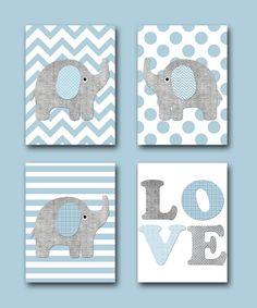 Gray Blue Elephant Giraffe Canvas Print Children Art Nursery Quotes Baby Boy Room Decor Kid Set Of 4 By Artbynataera