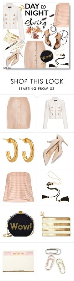 """Spring: Day to Night"" by heather-reaves ❤ liked on Polyvore featuring River Island, Balmain, Jennifer Fisher, TIBI, Malone Souliers, Lanvin, Edie Parker, Kate Spade, Fountain and shu uemura"