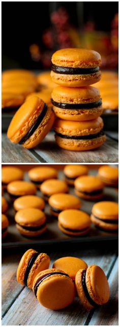 Orange and Dark Chocolate Macarons. Ugh, I adore dark chocolate and orange flavors. So good as a biscotti, even better as a macaron! Baking Recipes, Cookie Recipes, Dessert Recipes, Just Desserts, Delicious Desserts, Yummy Food, Orange Recipes, Sweet Recipes, Macaron Cookies