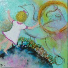 tableau acrylique, la petite-fille vole et rêve d'un oiseau : Peinture naïve