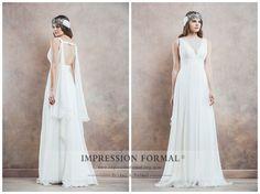 Sheath Wedding Dress Bridal Gown Chiffon by ImpressionFormal, $189.00