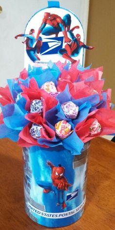 Spiderman candy bouquet.