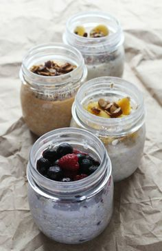 Overnight Oatmeal = Genius.  Simply put oats, liquid, and toppings in a mason jar, seal and shake, then stow in the fridge. Take it out the next morning for a chilled or hot breakfast treat!