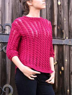 Купить Вязаный свитер цвета вишни - вязаный свитер, вязанный свитер, вяжу на заказ