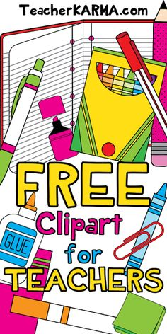 FREE Clipart for Classroom Teachers    Just about every teacher LOVES clipart and LOVES free stuff!!  This freebie clipart bundle includes 78 pieces of high quality graphics.  To get your FREE school supplies clipart click here!  Best wishes!   free clipart for teachers student clipart teacher freebies teacherkarma.com