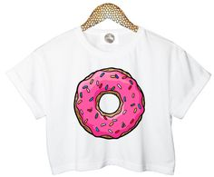 PINK DONUT crop T SHIRT  top sweet candy retro hipster swag dope yolo vtg punk handmade womens ladies funny crop top summer tumblr
