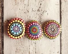 Set of 3 Painted Rocks, rainbow design, Office and home ornament, Aboriginal Dot Art, Painted stone, paper weights