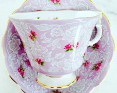 RESERVED FOR PY-Royal Albert True Love Lavender Rose Chintz 1940's Teacup and Saucer - Edit Listing - Etsy